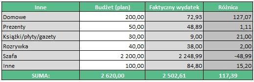 Budżet domowy w praktyce - Inne